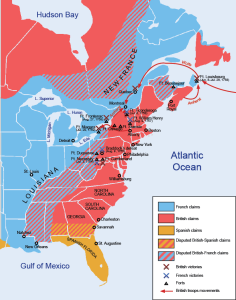 North America on the eve of the Seven Years War. Note the overlapping Spanish and English claims in South Georgia. This are has been depopulated during Queen Anne's War.