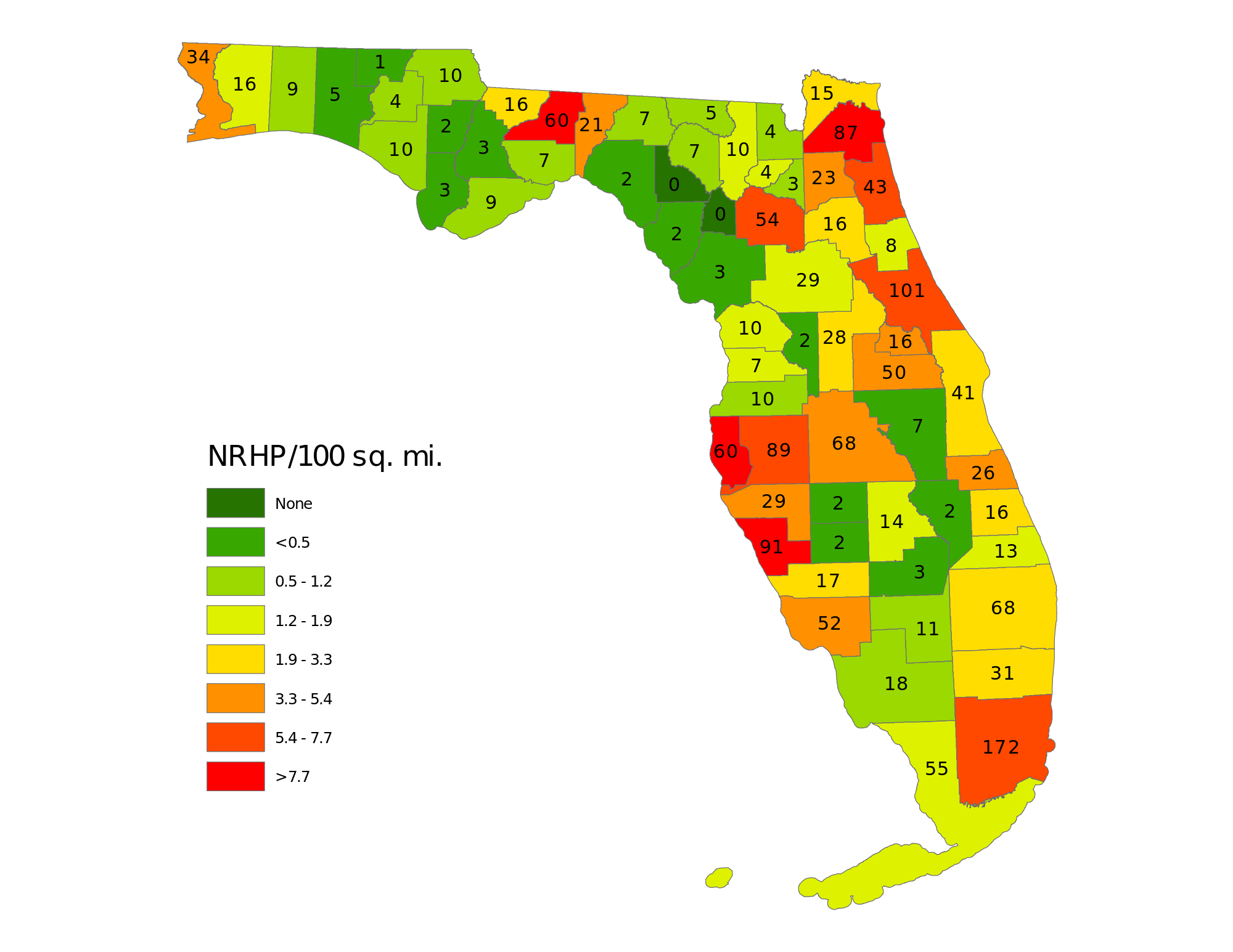 National Historical Register By Florida County  Where Does Your - Florida county map with population