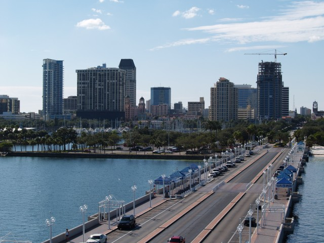 """""""St Pete Skyline from Pier"""" by EaglesFanInTampa at English Wikipedia. Licensed under CC BY-SA 3.0 via Commons - https://commons.wikimedia.org/wiki/File:St_Pete_Skyline_from_Pier.jpg#/media/File:St_Pete_Skyline_from_Pier.jpg"""