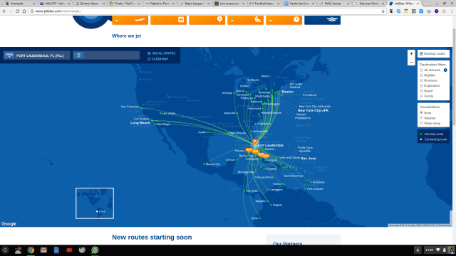 jetBlue Fort Lauderdale nonstop routes - December 2016