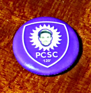 Flight 19 supporters group button distributed after Fort Lauderdale's 2-1 win over Orlando in June.
