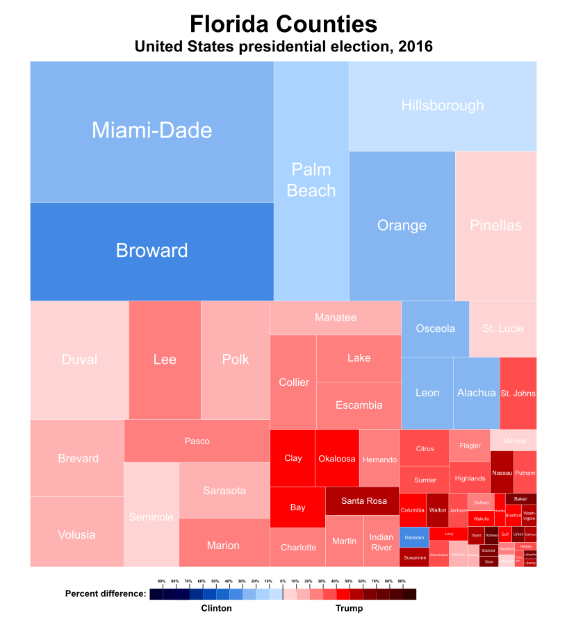 Excellent Florida County Tree Map Of 2016 Presidential Election Results